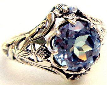 Alejandrita Vintage anillo anillo de plata esterlina piedra