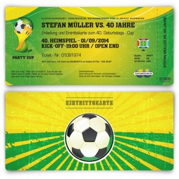 Einladungskarten als WM Fussballtickets in grün/gelb. Mit eigenem Text und Perforation. Auf http://www.kartenmachen.de/shop/einladungskarte-als-fussballticket-brazil.html    #Einladungskarten #Fussball #Design #WM #Brasilien
