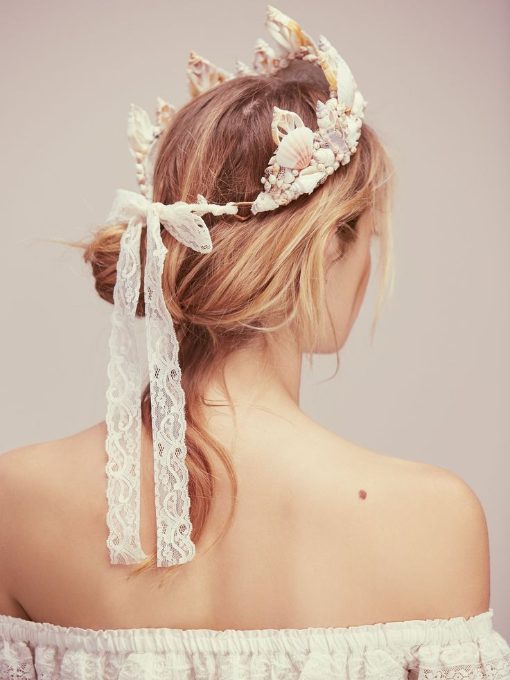 Dreamer Mermaid Crown   All things ethereal and gorgeous, this mermaid inspired crown has been handmade in California and features allover seashell accents. Adjustable lace tie in back. #Seashell