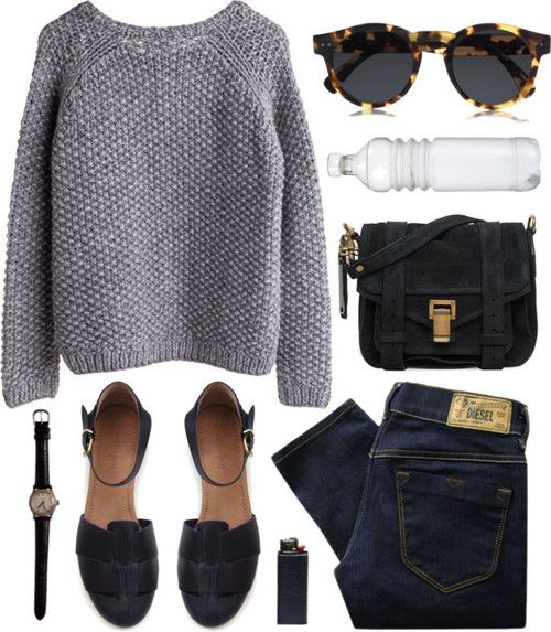 Perfect example of effortless style! A nice cableknit with jeans, a unique pair of flats with a nice crossbody, and some cool sunglasses are all you need! #cableknitlove