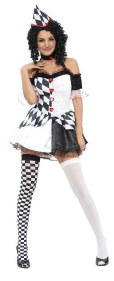 Harlequin Costume, Comes with Dress, Choker and Hat. #FancyDress #Costume #Clown #Halloween #Jester