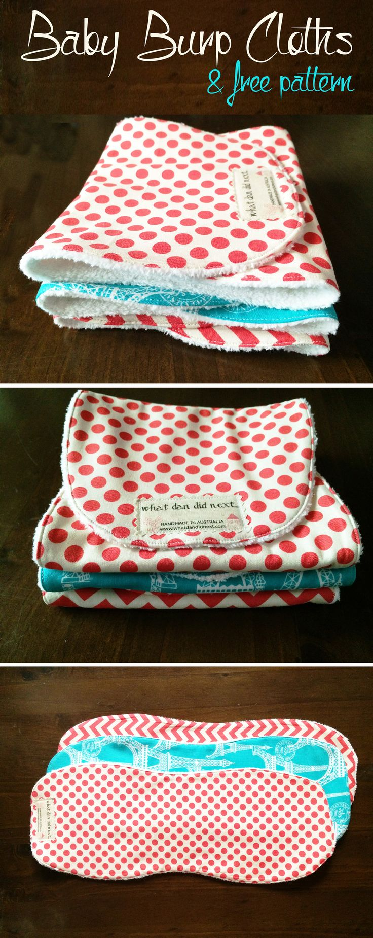 Baby Burp Cloths With Free Pattern Template Diy