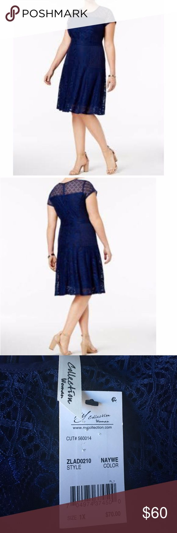 NY Collection Women Dress Plus Size 1x Fit&Flare NY Collection Women Dress Plus Size 1x Fit&Flare Lace Navy Blue Short Sleeve NWT Great for the work place, a night out, and every day wear Original Price: $70 Material: Body: 92% Nylon, 8% Spandex Combo: 70% Cotton, 30% Nylon Lining: 100 % Polyester Cut: #560014 Style:ZLAD0210 Color: Naywe Plus Size: 1X Short Sleeve Above Knee Imported Care: Hand wash cold with like colors, do not bleach, line dry Iron on lowest setting on reverse side, do not…