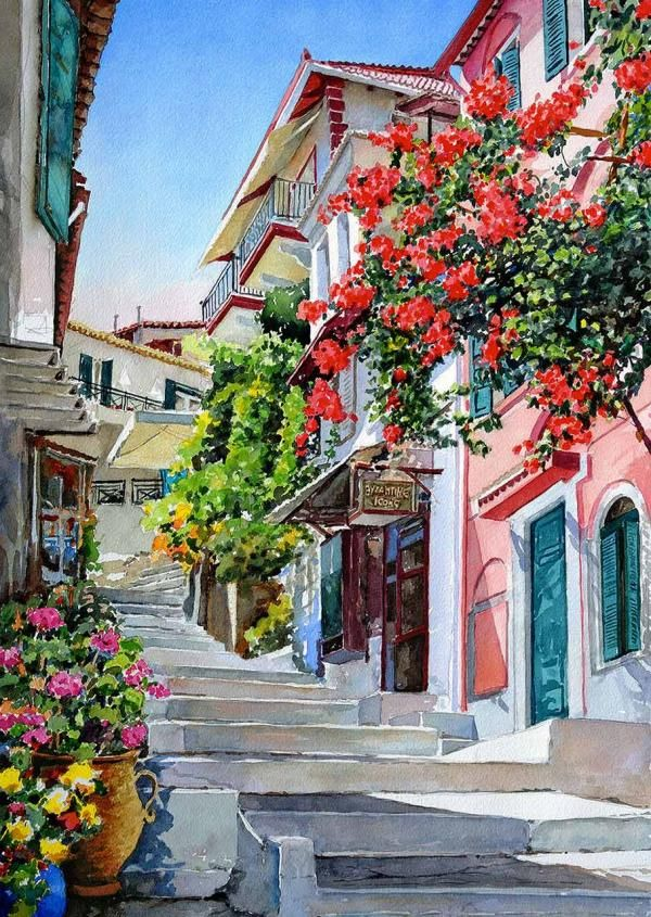 parga - Watercolor Landscapes by Pantelis D. Zografos   Art and Design