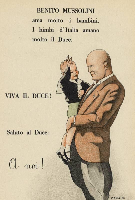 """Saluto al Duce! Immagine tratta da: """"Il libro per la prima classe elementare"""", Roma, Libreria dello Stato, A. XIII (1935), 146 pp. Illustrazione di Pio Pullini."""