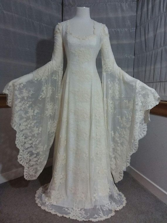 3a52b099e142f boho wedding dress elven dress medieval wedding dress lace | dresses ...