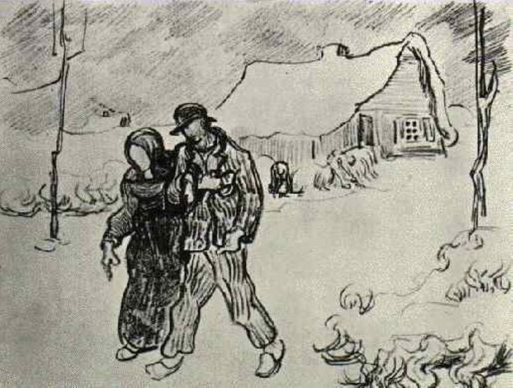 People Walking in Front of Snow-Covered Cottage, 1890 Vincent van Gogh