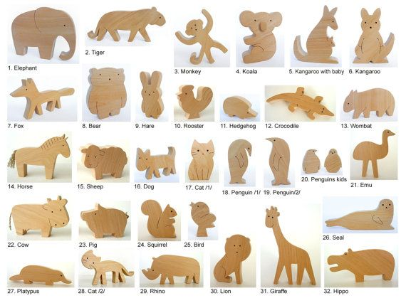 ... - Organic Wooden Toy - Animals From All Over The World - Wooden