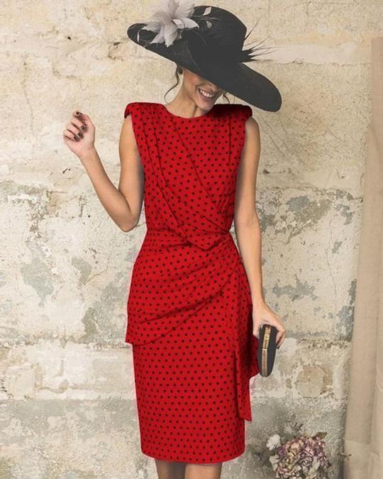 ec7917bb4f6af Wome Elegant Wave Point Slim Plus Size Evening Dress in 2019 | I ...