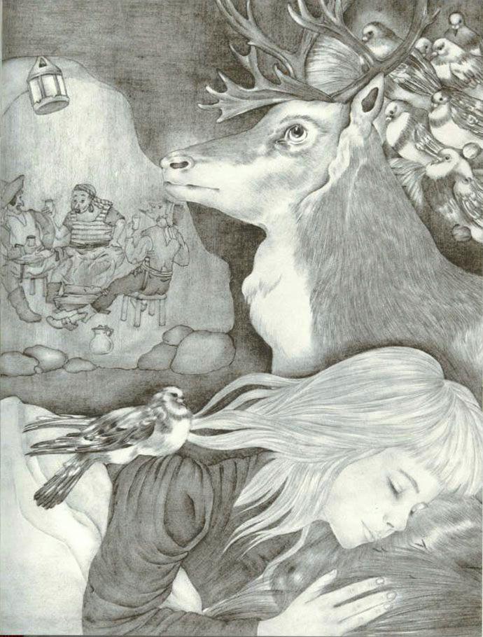 Иллюстратор Adrienne Segur.Автор Г.Х.Андерсен.Страна Франция.Год издания 1966.Издательство  Flammarion..Девочка, которая наступила на хлеб......Гадкий утенок......Снежная королева............Ель....Дикие лебеди......