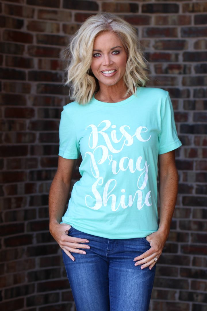 One Faith Boutique - Rise Pray Shine Graphic Tee ~ Mint ~ Sizes 4-16, $25.00 (https://www.onefaithboutique.com/new-arrivals/rise-pray-shine-graphic-tee-mint-sizes-4-16/)