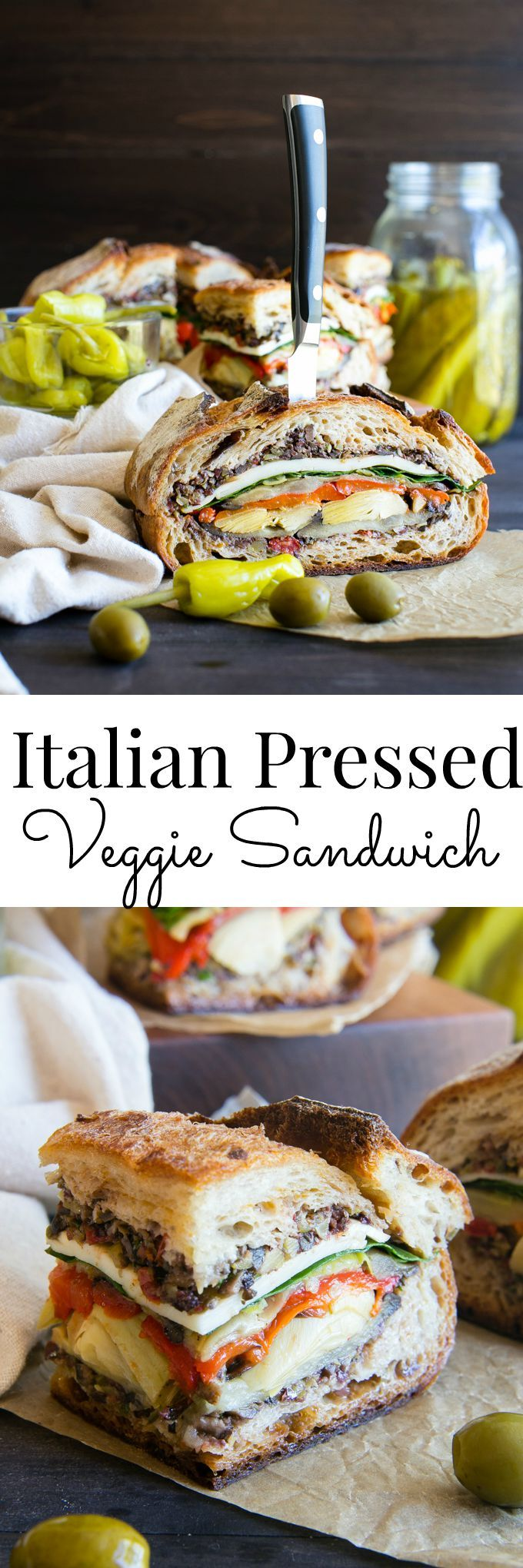 Italian Pressed Sandwich // garlic, red bell peppers, aubergine, red wine vinegar, ciabatta or sourdough, pepperoncini, tinned artichokes, swiss chard or spinach, vegan cheese, sea salt, black pepper, olive oil...TAPENADE // mixed olives eg black or kalamata or green, capers, sundried tomatoes, garlic, dried oregano, fresh parsley, fresh basil, lemon