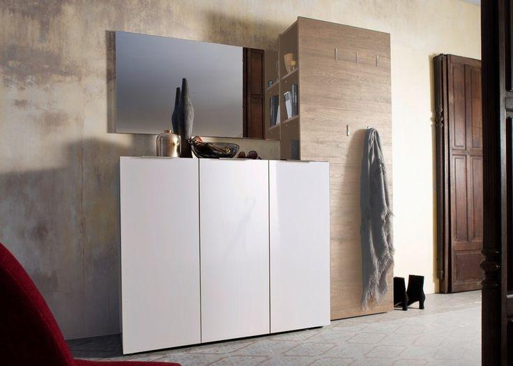 Garderobe komplett Vicenza 1 Garderobenset Weiß Hochglanz Eiche 20910. Buy now at https://www.moebel-wohnbar.de/garderobe-komplett-vicenza-1-weiss-hg-wenge-20910