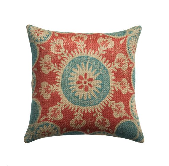 Suzani Burlap Pillow Cover, Red and Blue Circle Pillow, Rustic Throw Pillow, Industrial Decor, Accent,