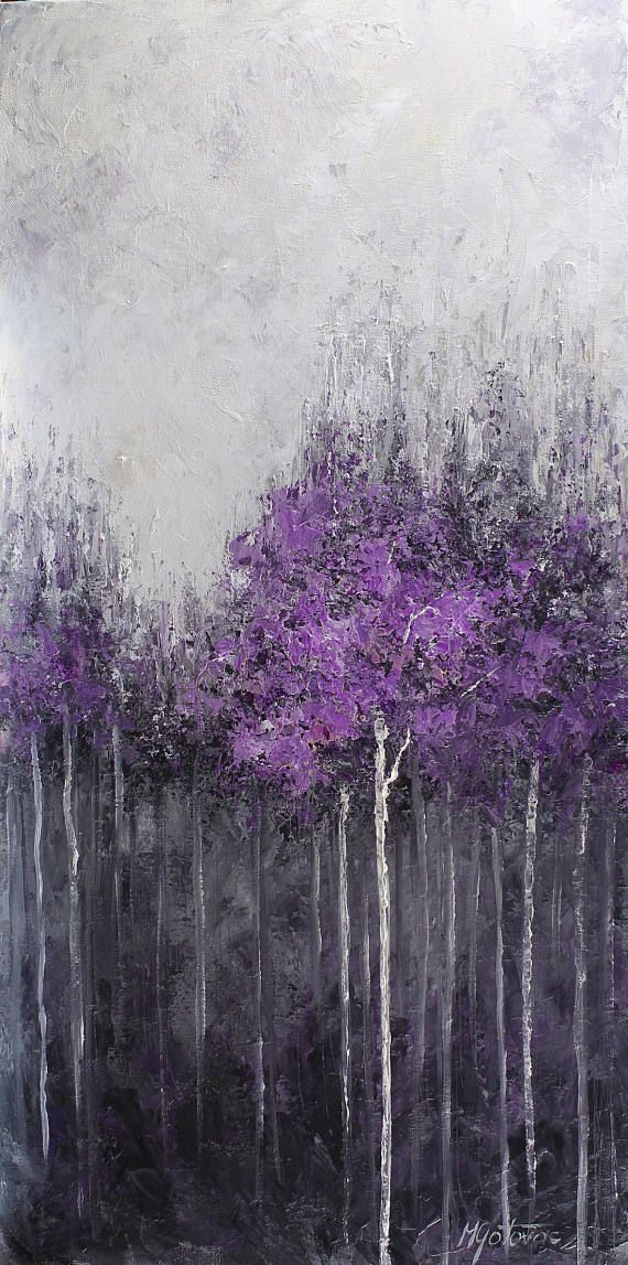 Original acrylic painting done with a palette knife on canvas SIZE: 15 x 30 TITLE: Purple Forest MEDIUM: Acrylic. Protected with a semi-gloss varnish. CANVAS: Gallery wrapped canvas with 1.50 thickness. The edges are painted, so a frame is not needed. SIGNATURE: Signed on the front.