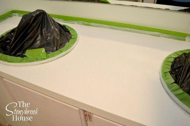 easy faux granite countertops, bathroom ideas, countertops, diy, painting