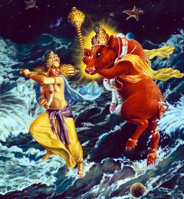 Lord Varaha: The Boar Incarnation Hiranyaksha was so powerful that he brought all three worlds under his control. He challenged Varuna to fight with him, but Varuna deva directed him to Lord Varaha, the boar incarnation of the Supreme Lord Vishnu. Hiranyaksha was killed in the combat with Lord Varaha. Hiranyakashipu wanted to avenge the death of his brother. To become immortal, he undertook severe penances at Mandarachala to please Lord Brahma.