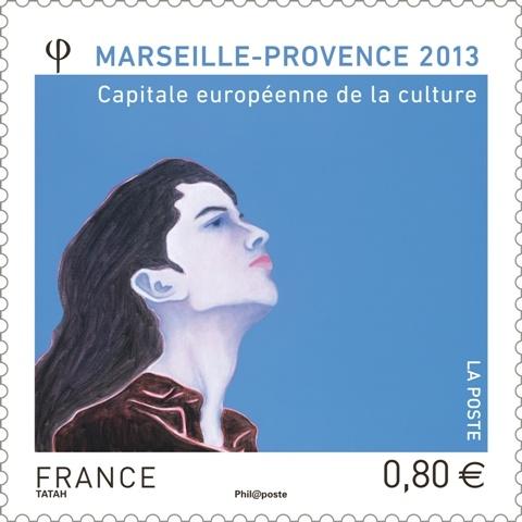 Le timbre officiel Marseille-Provence 2013 est la reproduction d'une œuvre originale créée par Djamel Tatah. Il est vendu exclusivement dans les bureaux de poste temporaires de Marseille, d'Aix en Provence, et d'Arles pour le week-end d'inauguration (12 et 13 janvier) et sera disponible à compter du 14 janvier 2013.
