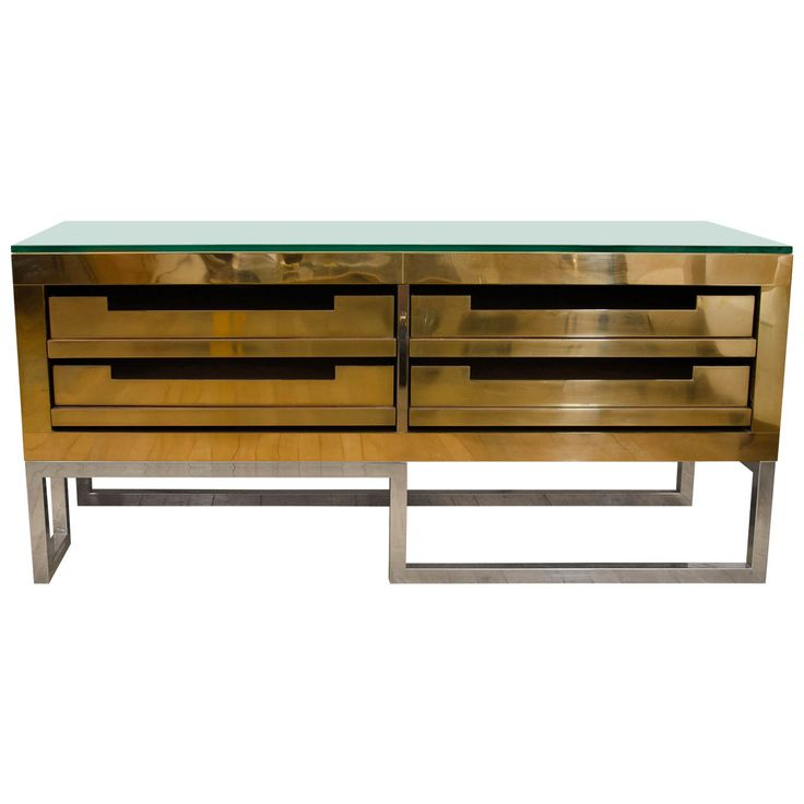 Rectangular Brass Low Console With Four Storage Drawers