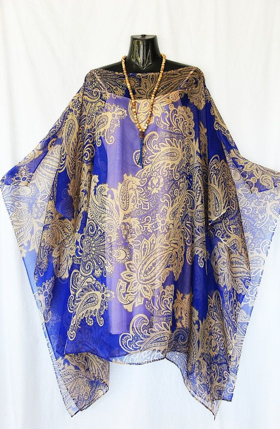 Indigo Blue and Gold Paisley 100 Silk Chiffon by MollyKaftans, $139.00   4 month old grandson Max squeals with delight when he sees this fabric! Very cute