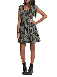 HOTTOPIC.COM - Grey Skull Floral Dress
