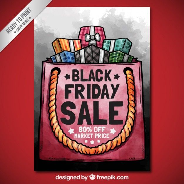 Free vector Hand painted black friday shopping bag poster #27485