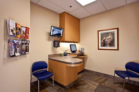 Veterinary Hospital Exam Room Wall Color And Cabinet