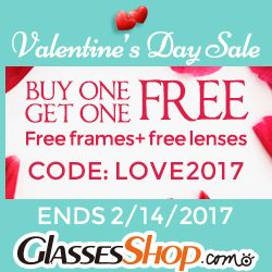 Valentine's Day Deal - Buy One Get One Free At GlassesShop.com. Code LOVE2017 - Expires 2/14/17 #Valentinesday http://www.planetgoldilocks.com/eyeglasses.htm #eyewear #eyeglasses #eyewearfashions #fashions at #planetgoldilocks #planetgoldilocksfashions #coupons