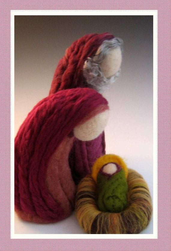 DEPOSIT on 3 piece Large Heirloom Needle Felted Nativity Set .