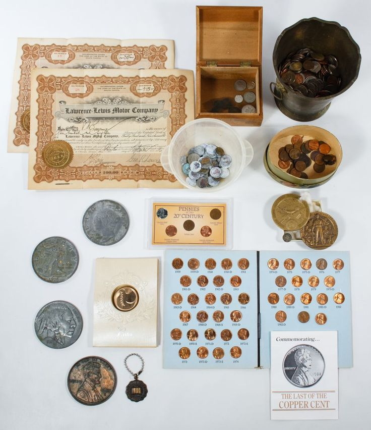 """Lot 27: Coin, Token and Stock Certificate Assortment ; Including an 1838 1c, an International Mint """"The Last Copper 1c"""" folder, (3) complete Whitman folders for statehood 25c, an American, Historic Society """"Pennies of the 20th Century,"""" an assortment of world coins and face value coin assortment; together with (2) 1916 Lawrence Lewis Motor Company stock certificates, American Legion bronze school tokens and cast metal coin tokens"""