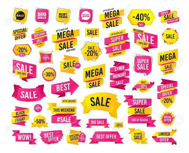 Sales banner. Super mega discounts. Sale icons. Special offer speech bubbles sym…