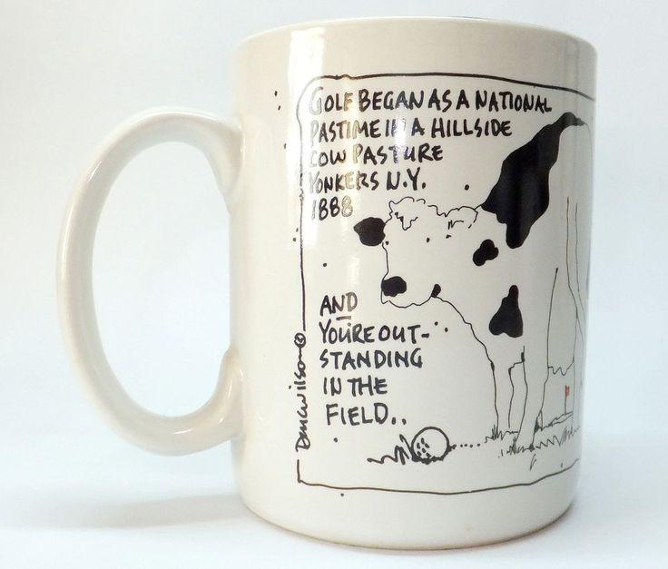 Ceramic Coffee Mug Cow Golf Yonkers New York Field 12oz Doug Wilson Fun Gag #DougWilson #GagGift #Cow #Golf #YonkersNY #NY