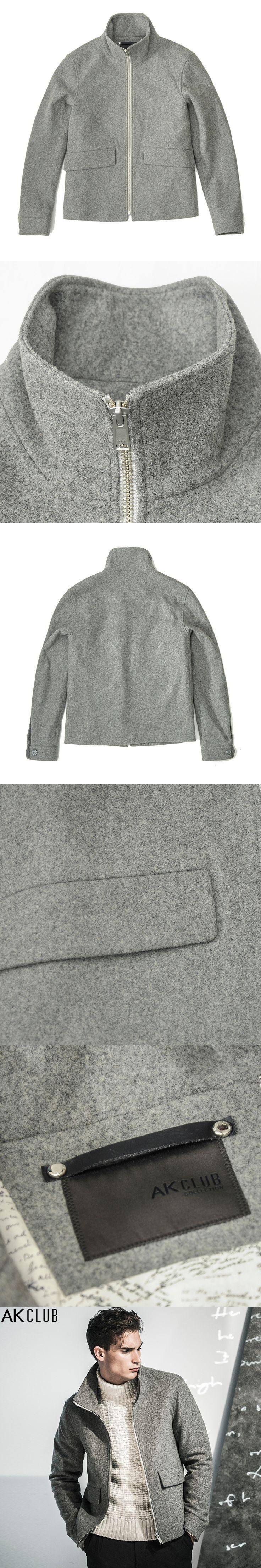 AK CLUB Brand Men 70% Wool Jacket Runway Letters Home Series Short Woolen Coat Men Turn-down Collar Zipper Men Jacket 1704119
