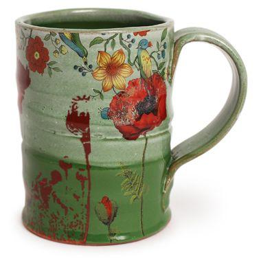 Shop: Green Poppy Mug 1 - The Clay Studio