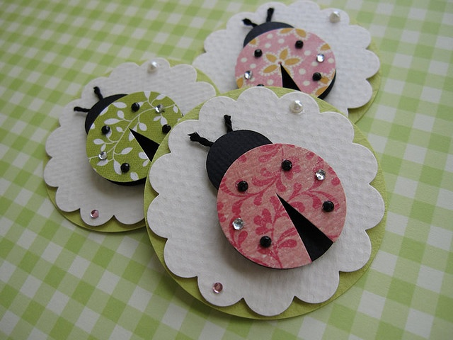 Cute embellishments to make for a kids card: Art Ladybugs, Ladybugs Gifts, Spring Ladybugs, Punchart, Card, Punch Art, Gifts Tags, Pink Ladybugs Paper, Paper Crafts