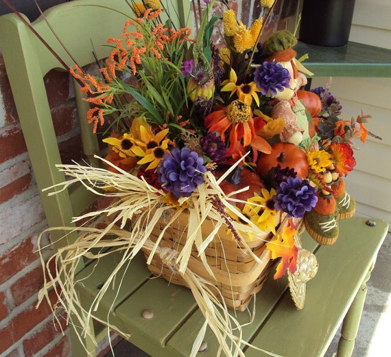 Fall Picnic Basket Flower Arrangement Flower Arranging