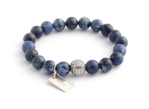 Men Sterling Silver & Blue Sodalite Beaded Bracelet / Vintage Ferrari Sterling Silver Charm / Stacking Bracelet