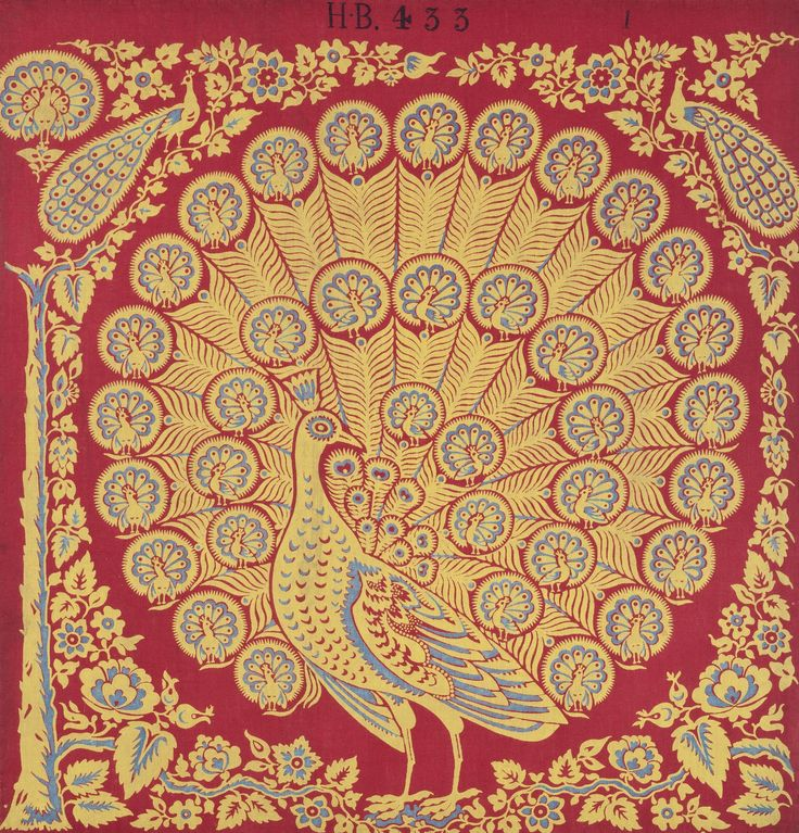 Textile sample of Turkey red dyed and printed cotton with a large hand block printed yellow and blue peacock on a red ground, with smaller peacocks making up the tail feathers. Surrounded by a floral and foliate border including a tree trunk at the left hand edge. Part of the Turkey Red Collection, A.1962.1266.1 - A.1962.1266.78, with subdivisions, totalling c. 40,000 items: Scottish, Dunbartonshire, c. mid 19th century - c. late 19th century
