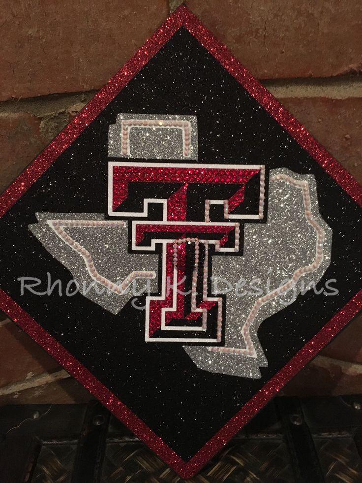 Texas Tech University custom decorated Mortarboard by Rhonny K. Designs. Mortarboard, graduation cap, Bling, Swarovski, Texas Tech, Red Raiders. Rhonnyk.com  Facebook:  Rhonny K. Designs