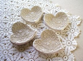 Handmade Pottery Lace Hearts…Palmeida's Lace by …