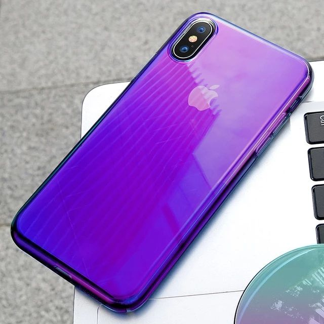 Transparent Color Gradient Phone Case For iPhone X XR XS Max X Soft TPU Fitted Back Cover Smooth Protective Silicon Case For iPhone X