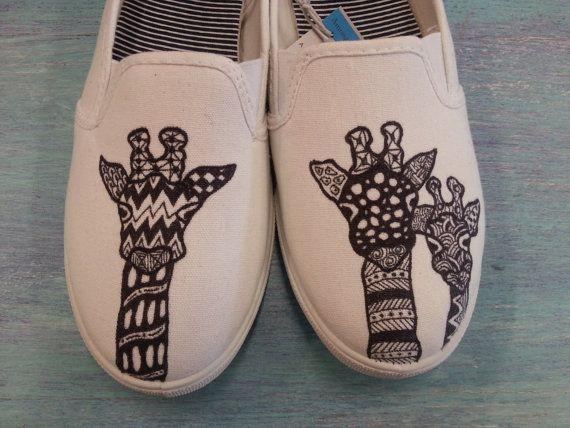 funky giraffe hand drawn womens canvas flats shoes slip