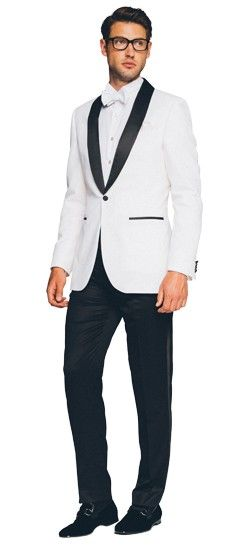 Take a page from the 007 handbook and stand out in a sea of black with this dapper, high contrast tuxedo.