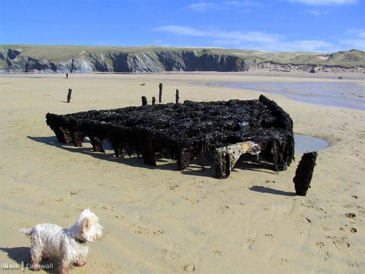 Wreck exposed on a low spring tide at Holywell Bay, Cornwall