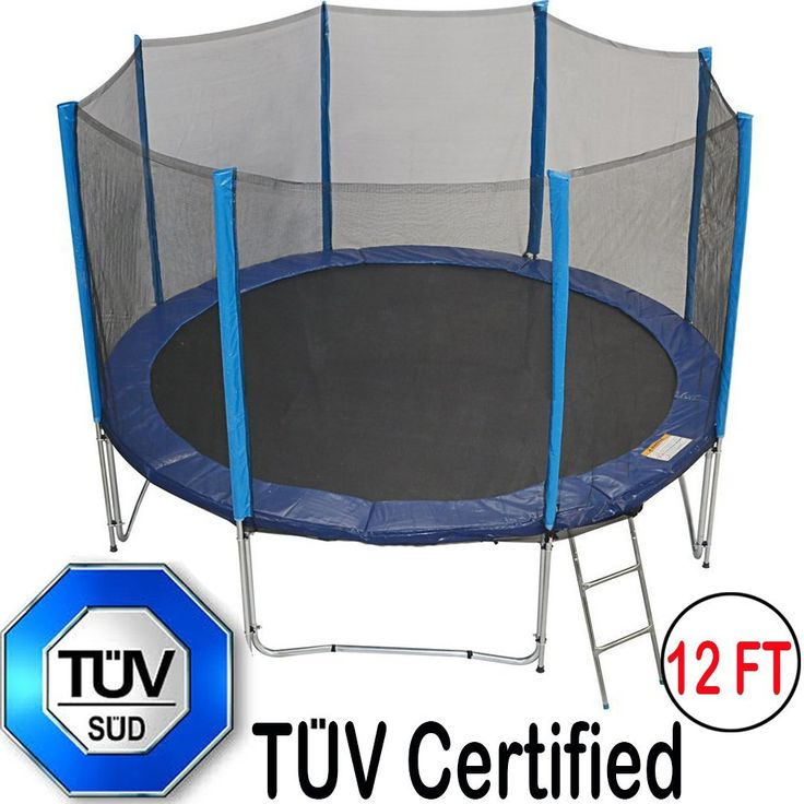 Zupapa 12Ft Trampoline with TUV Certificate Steel Ladder Net Enclosure Safety Pad Jumping Mat Rain Cover Feet
