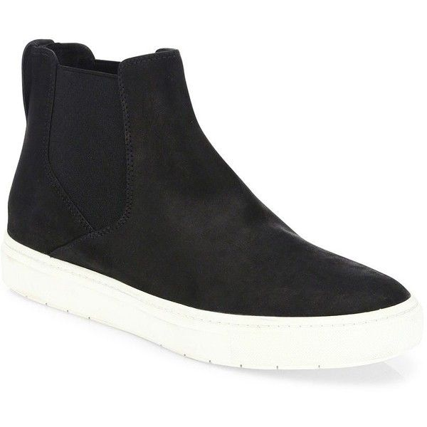 Vince Newlyn Leather High-Top Skate Sneakers (1,030 PEN) ❤ liked on Polyvore featuring shoes, sneakers, apparel & accessories, black, slip on sneakers, black leather sneakers, leather high tops, black slip-on sneakers and flatform sneakers