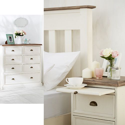 The Cornwall bedroom suite features natural and white washed timber for a classic look.    Pictured: Cornwall Bedside Table and Tallboy.