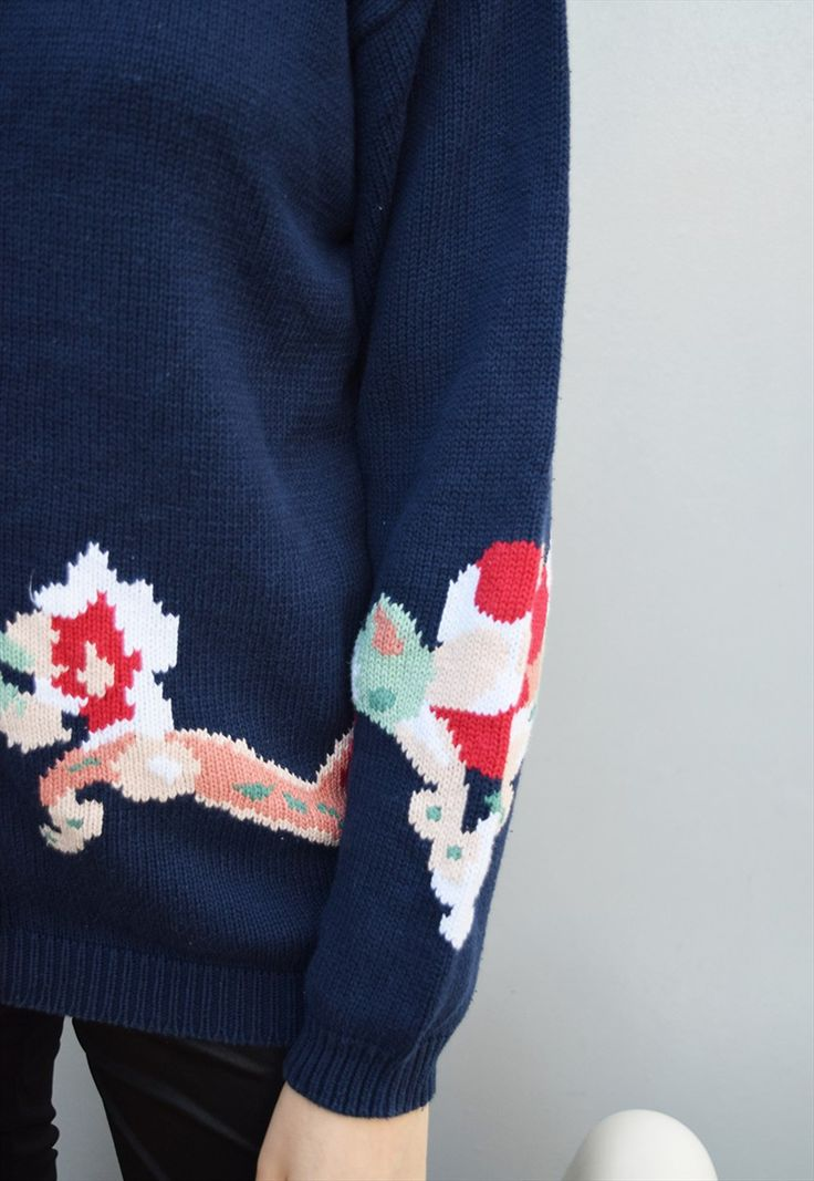 80's retro absract floral oversized Mom's knitted cardigan | Vintaholic | ASOS Marketplace