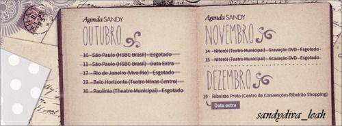 #1953 : [b]Sandy se apresenta em Ribeirão Preto neste sábado[/b] [i]A Virazóm traz p/ Ribeirão Preto show inédito da nova turnê de Sandy. A cantora está comemorando 25 anos de carreira e prepara seu retorno aos palcos após ficar afastada por mais de 1 ano p/ cuidar de seu 1º filho. Será uma pré-exibição da turnê q Sandy inicia no próximo ano. O show acontece neste sábado (19), às 22h, no Centro de Eventos do Ribeirão Shopping. Seguindo o perfil minimalista da cantora, o show te...