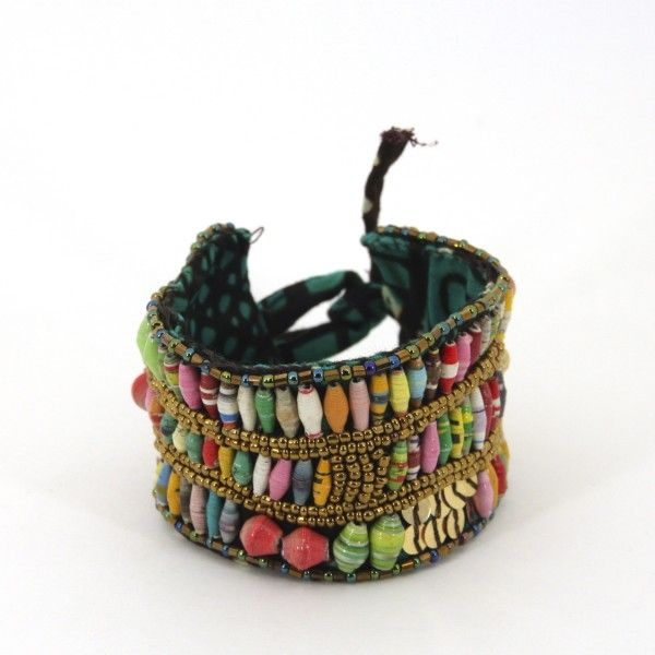 Gorgeous multicolor cloth beaded cuff with tie closure. Hand-rolled beads made out of paper.